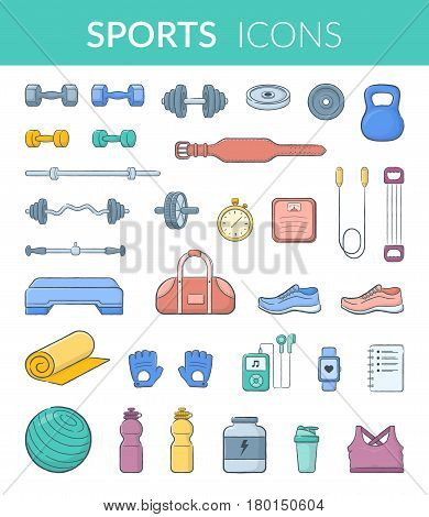 Vector icons isolated on white. Modern pictograms for web graphics.