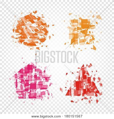 Isolated abstract colorful geometric shapes of broken pieces logo set, square, triangle, pentagon and round logotype collection on checkered background, splinters elements vector illustration.
