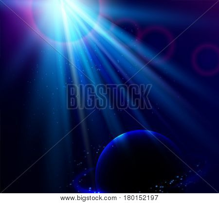 Shining vector blue color light effects with planet, glowing beams background , space vector illustration.