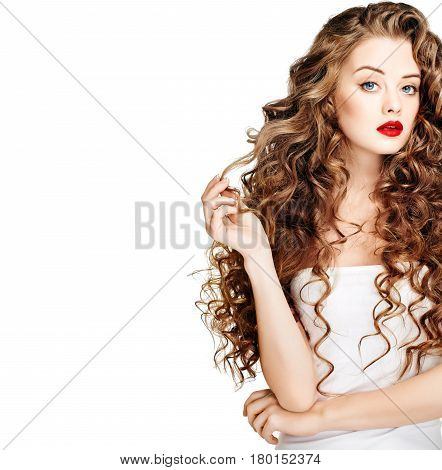 Beautiful People. Curly Hair Red Lipsq. Fashion Girl With Healthy Long Wavy Hair. Hair Extension, Pe