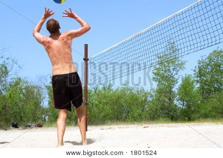 Playing Beach Volleyball - Clumsy Tall Man Passes Ball