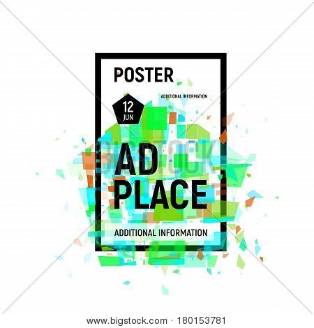 Isolated abstract colorful broken glass explosion in rectangular frame, ad place poster in green shades, geometric elements vector illustration.