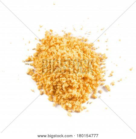 Breadcrumbs isolated on white background. Top view.