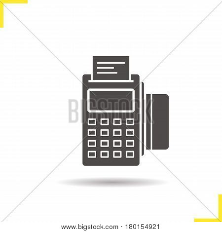 Pos terminal icon. Drop shadow silhouette symbol. Store payment terminal with check and credit card. Negative space. Vector isolated illustration