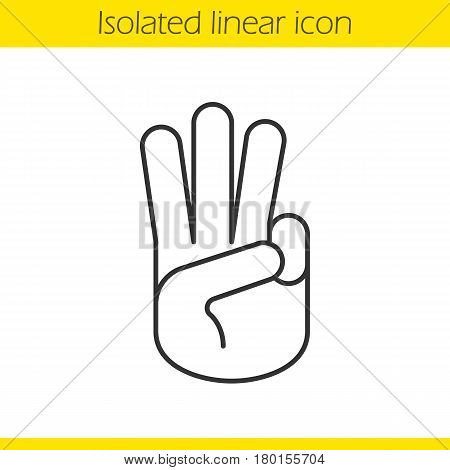 Three fingers salute linear icon. Thin line illustration. Scout promise sign. Three fingers hand gesture contour symbol. Vector isolated outline drawing