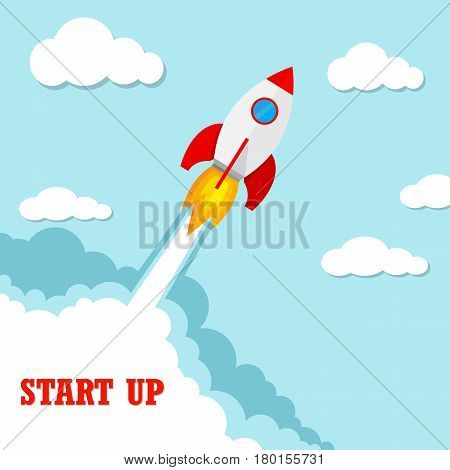 Start up of the space rocket. Rocket ship in flat design. Vector illustration. Concept of business launch.