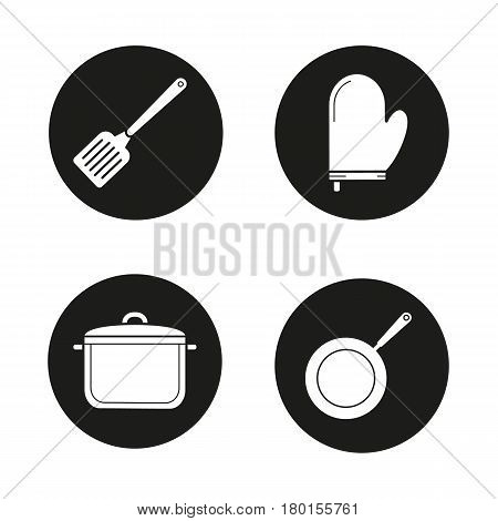 Kitchenware icons set. Cooking equipment. Spatula, pot holder, saucepan, frying pan. Vector white silhouettes illustrations in black circles