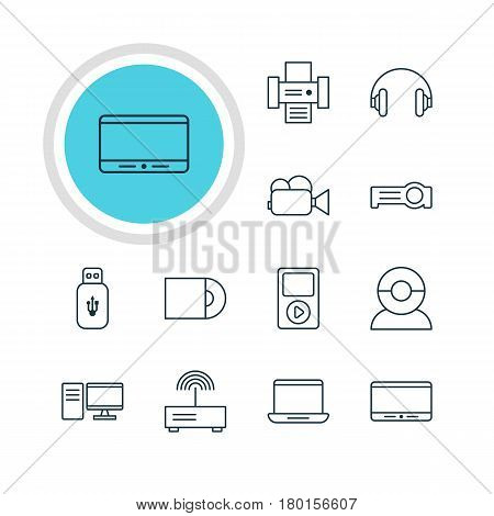 Vector Illustration Of 12 Hardware Icons. Editable Pack Of Dvd Drive, Usb Card, Camcorder And Other Elements.