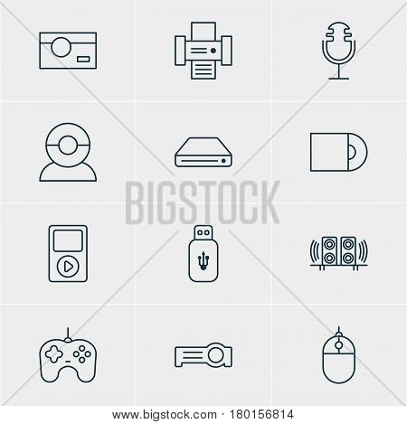 Vector Illustration Of 12 Hardware Icons. Editable Pack Of Dvd Drive, Photography, Sound Recording And Other Elements.