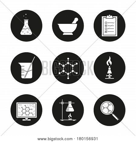 Chemical laboratory icons set. Chemical reaction, mortar and pestle, test checklist, beaker with rod, molecular structure, lab burner, flask. Vector white silhouettes illustrations in black circles