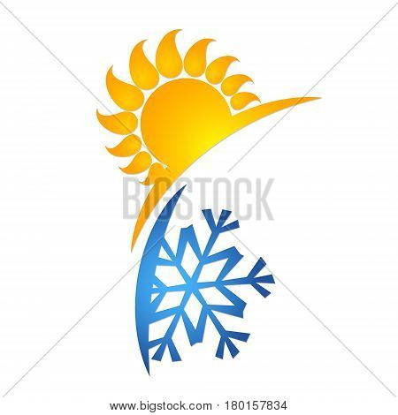 Sun and snowflake symbol for air conditioner. Silhouettes for business.