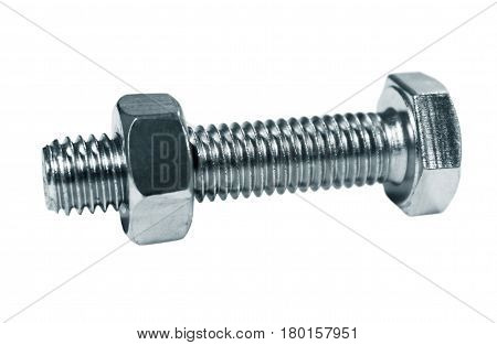 Bolt screw the nut on it isolated on a white background