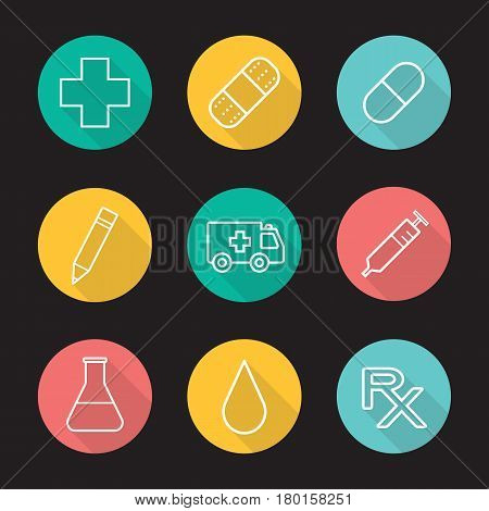 Hospital flat linear long shadow icons set. Medical cross, adhesive band, pill, pencil, emergency car, syringe, beaker with liquid, drop, rx prescription. Vector line illustration