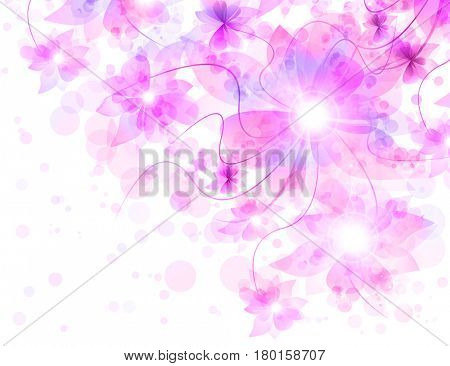 Beautiful flowers romantic pink veil on white. Best Romantic Flower Background