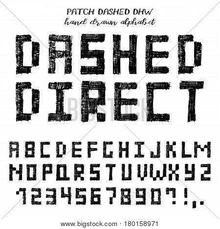 Hand drawn alphabet written grunge font with symbols in technique of direct hatching: stylized black capital letters numbers and punctuation. Vector illustration