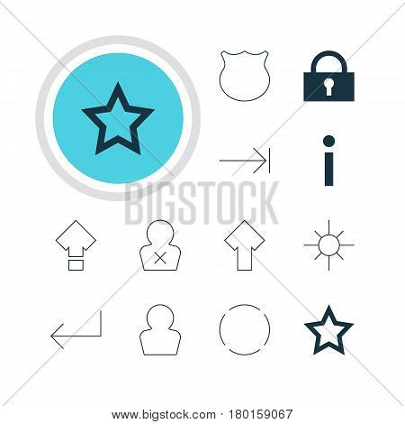Vector Illustration Of 12 Member Icons. Editable Pack Of Upward, Sunshine, Guard And Other Elements.