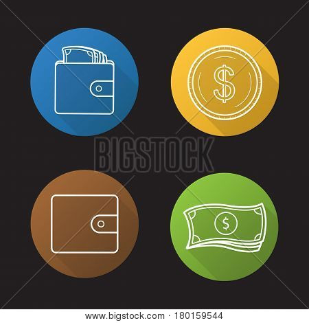 Money flat linear long shadow icons set. Cash. Dollar bills stack, leather wallet full of banknotes, gold dollar coin. Vector line illustration