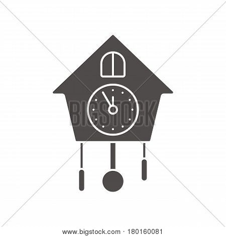 Wall clock icon. Silhouette symbol. Negative space. Vector isolated illustration