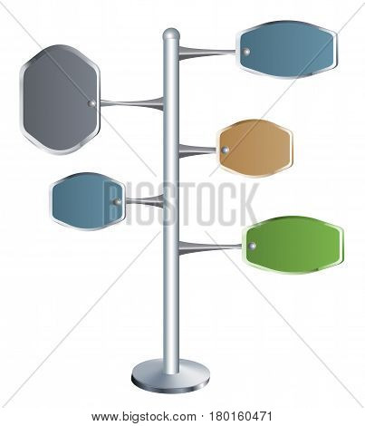 Metal directional signpost with color tables. Signpost with five colorful metal banners