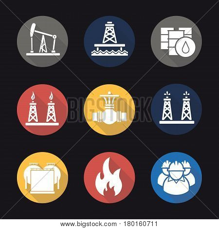 Oil industry flat design long shadow icons set. Pump jack, barrels, pipe valve, gas and fuel production platforms, oil reservoir, flammable sign, industrial workers. Vector silhouette illustration