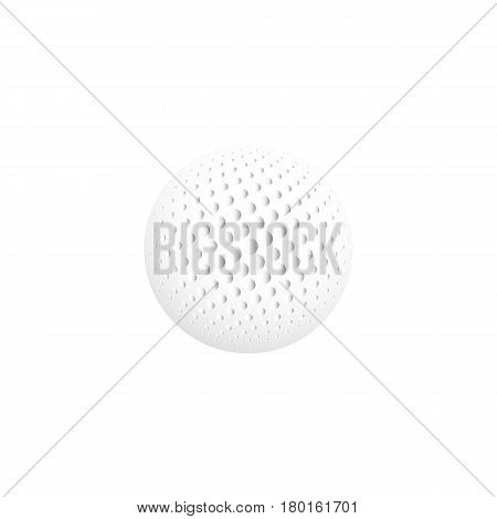 Isolated abstract white color round shape logo, sphere logotype, realistic golf ball on white background.