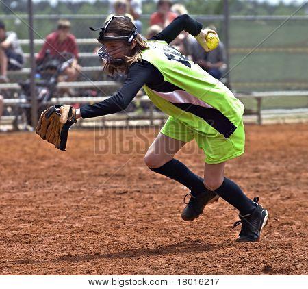 Girl Softball Player