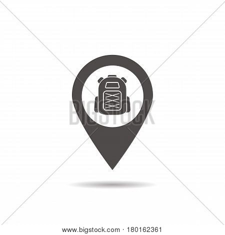 Hiking base location icon. Drop shadow map pointer silhouette symbol. Tourist's backpack pinpoint. Camp nearby. Vector isolated illustration