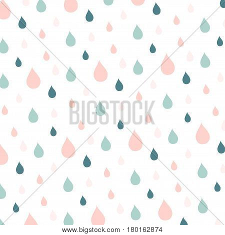 Blue and pink rain drops on white, stock vector illustration