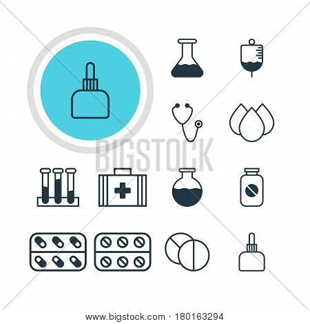 Vector Illustration Of 12 Medical Icons. Editable Pack Of Aspirin, Medicament Pitcher, Vial And Other Elements.