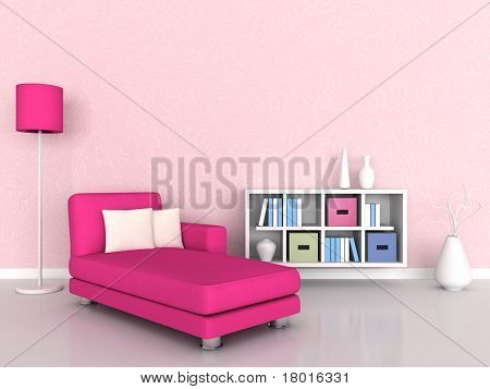 Interior of the modern room, pink wall and pink sofa