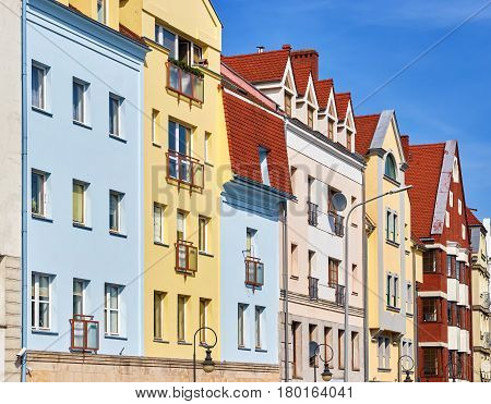 Picture of colorful tenement house facade Szczecin Poland.