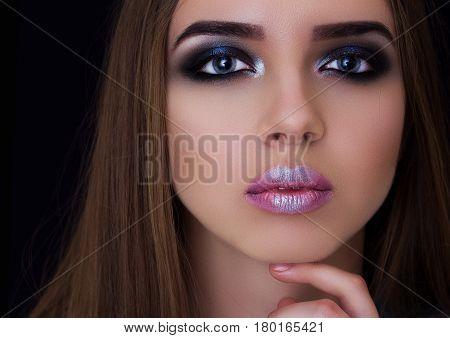 Professional Make-up On The Big Eyes Model