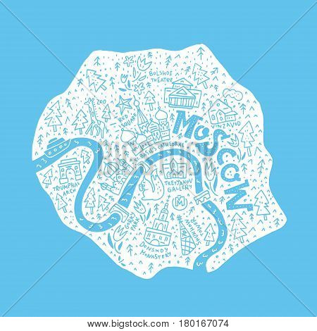 Cartoon map of Moscow. Vector cartography. All main tourist attractions.