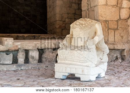 Headless Statue In Mayan Ruins