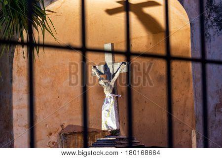 Jesus Statue At Night