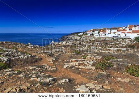 Rocky Coast Extending into the Sea .Portugal
