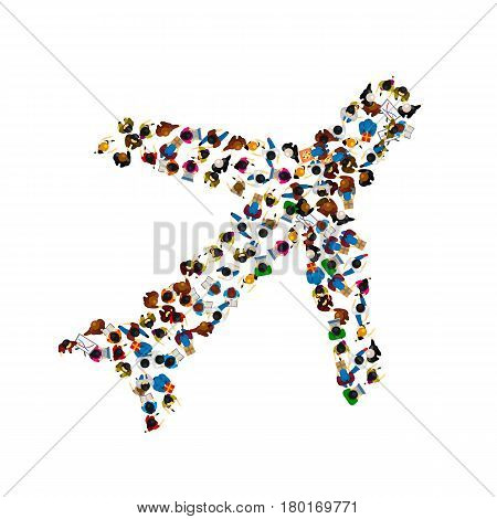 A group of people in a shape of plane icon, isolated on white background . Vector illustration