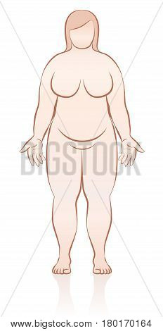 Fat naked woman - schematic medical representation of female overweight body - front view - isolated outline vector illustration.