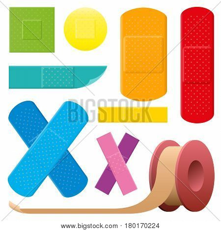 Adhesive plaster set - colorful collection of medical first aid objects - isolated vector illustration on white background.