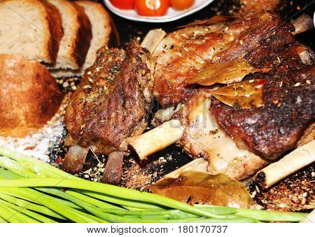 Fried Meat On A Bone With Spices