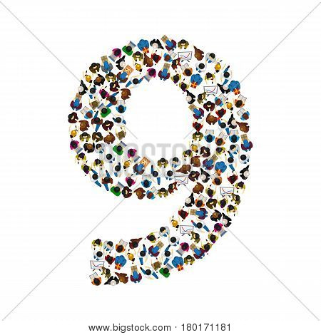 Large group of people in number 9 nine form. People font . Vector illustration