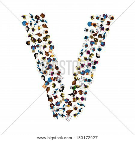 A group of people in the shape of English alphabet letter V on light background . Vector illustration.