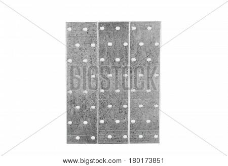 Perforated steel plank isolated on a white background