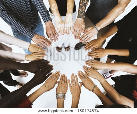 Group of multiracial people hands variation