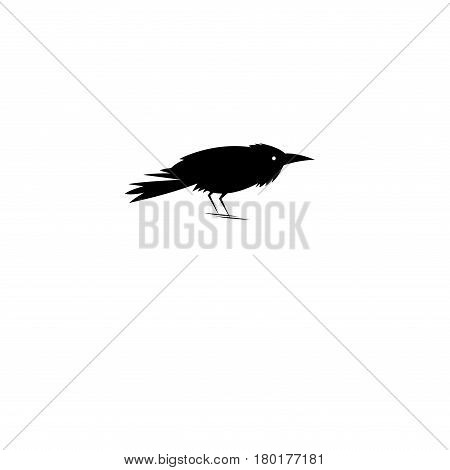 Beautiful symbol of the black Raven on a white background