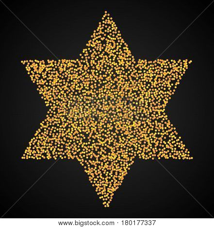 Six-pointed star of David. Vector illustration of abstract dotted symbol  round shapes. Judaism sacred geometry sign made in stippling technique.