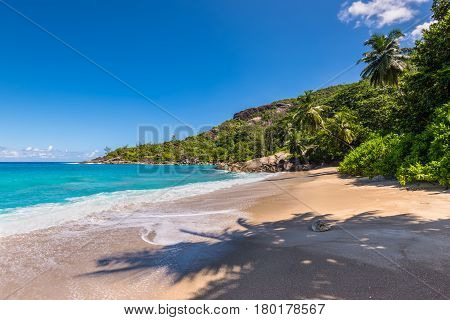 Sunny day on fantastic untouched tropical Anse Major beach Mahe island Seychelles. Summer holiday concept.