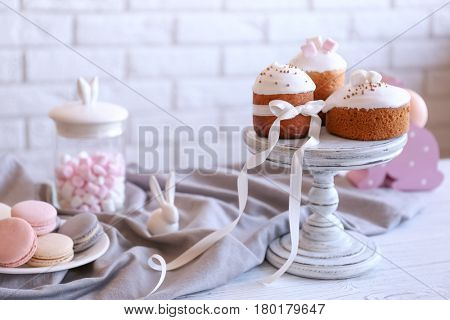Traditional Russian Easter cakes on vintage stand