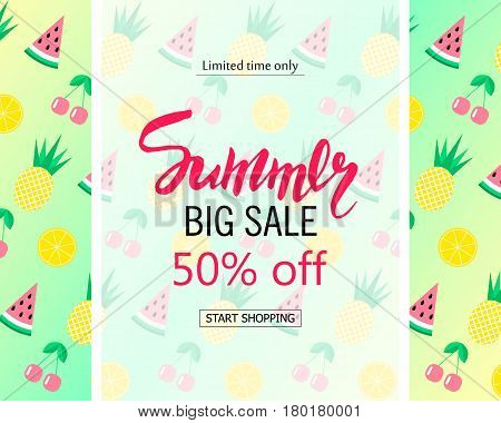 Summer big sale banner. Cute background with watermelon pineapple cherry and orange