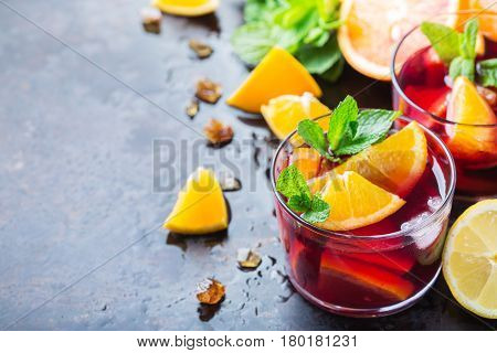 Spanish Sangria Cocktail And Ingredients